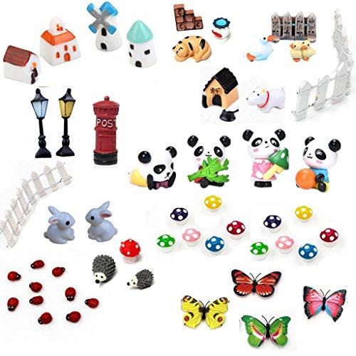 Buytra 51 Piece Miniature Fairy Garden Ornaments kit for DIY Fairy Garden Dollhouse Home Decor