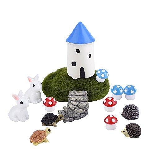 Eboot 15 Piece Miniature Garden Fairy Ornaments Diy Dollhouse Decoration Castle Kit