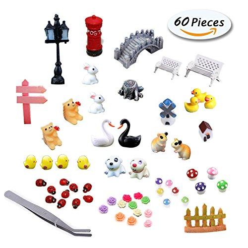 Fairy Garden Dollhouse Decor Miniature Ornaments Kit Set with 1 Pcs Tweezer - 60 Pcs by PIPIHUA