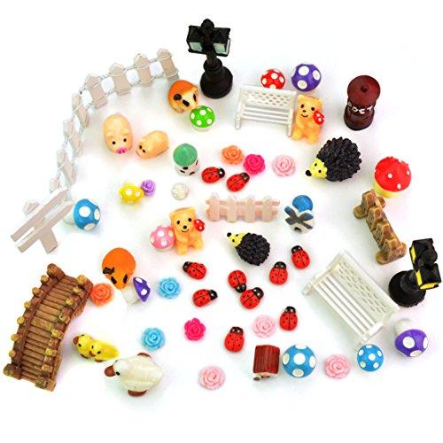 Jmkcoz 56 Pcs Decorative Stones Miniature Fairy Garden Ornament Kit For Diy Mini Garden Views Dollhouse Decor