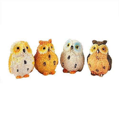 Outus 4 Pieces Miniature Fairy Garden Owl Ornament Outdoor Decor Home Decoration