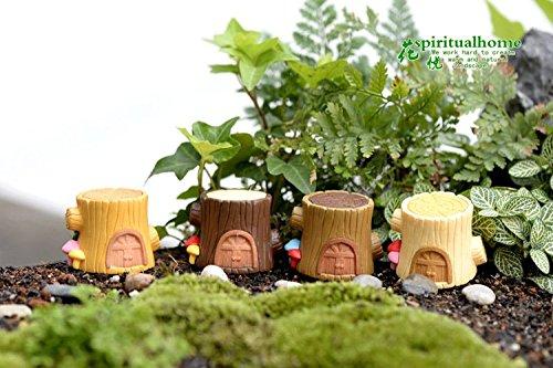 SUN-E 4 In Set Miniature Garden Fairy Ornament Tree Stump