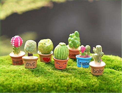 SUN-E 7 In Set Miniature Garden Fairy Ornament Cactus&flower Outdoor Decor Home Decoration