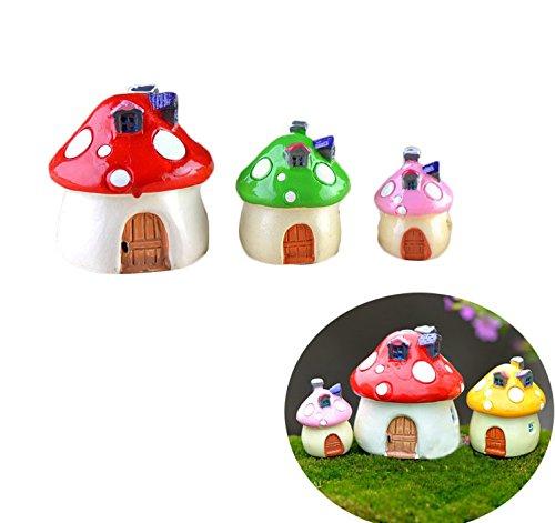 Vivian Miniature Ornaments Mushroom HouseBonsai Garden Fairy Ornament Pot Plant Craft Decor Set of 3PCS