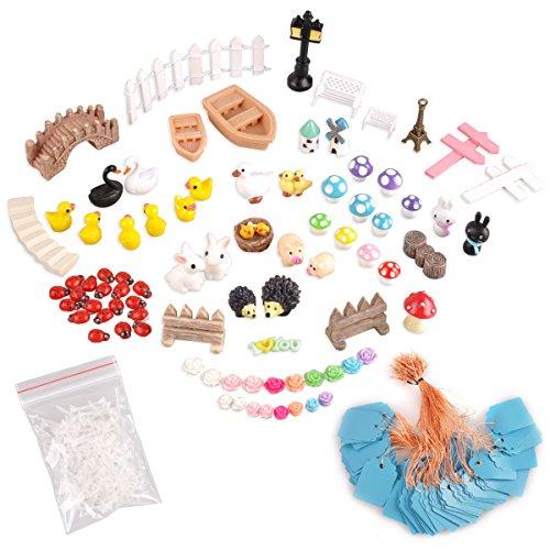 eZAKKA Miniature Ornaments Kit Set With Storage Box For DIY Fairy Garden Home Outdoor Plant Decoration Pack Of 86