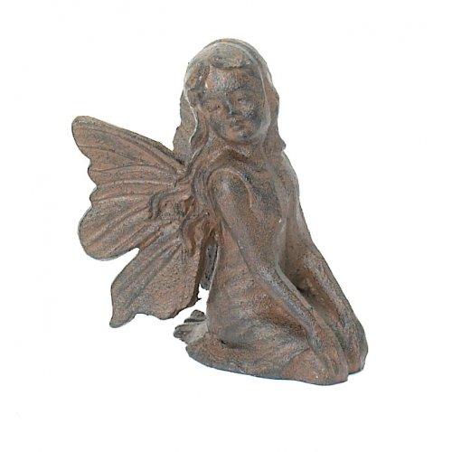 Kneeling Cast Iron Fairy Angel Garden Statue Pixie Home Decor