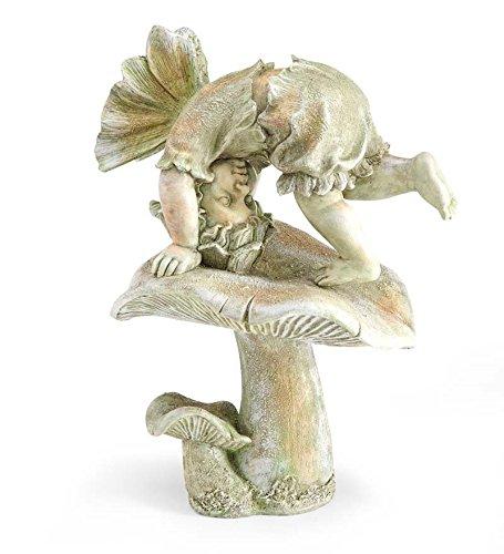 Tumbling Fairy on Mushroom Garden Statue