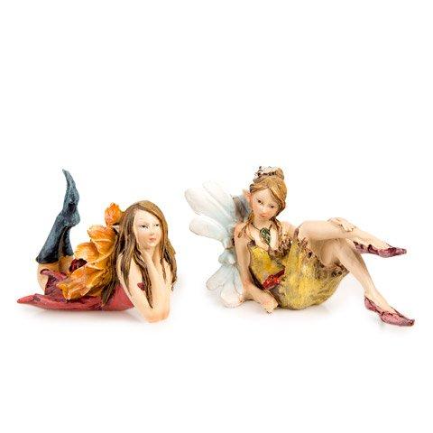 Darice Fairy Garden Figurines - Flower Wing Sitting Fairy - 2 Assorted Styles