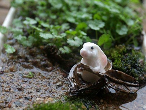 Ginsco Miniature Ornament Figurine Fairy Garden Bunny In A Leaf Boat