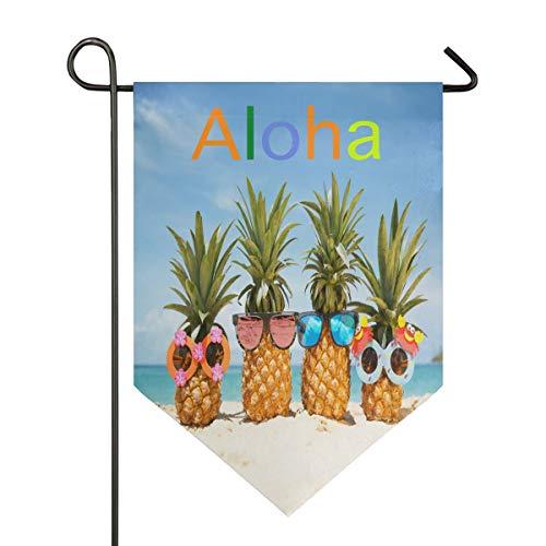 Oarencol Aloha Summer Pineapples Sea Sunglasses Large House Flag Hawaii Ocean Beach Double Sided Home Yard Decorative Garden Banner 28 x 40 Inch