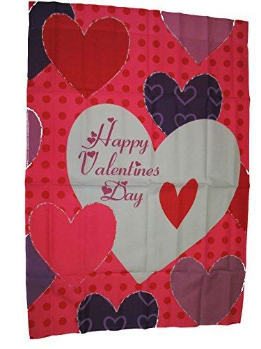 Ruffin Flag Company 28x40 Happy Valentines Day Multi Heart Nylon Sleeved Garden 28x40