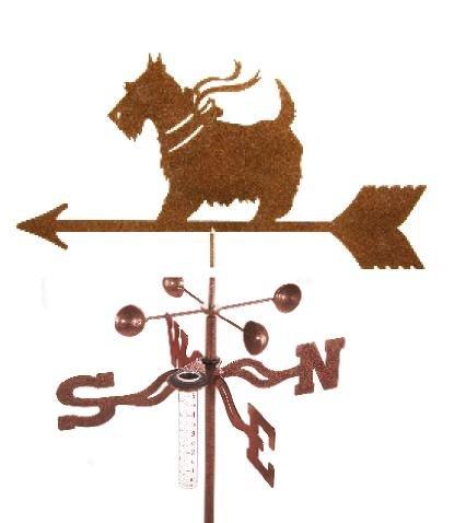 Scottie Dog Rain Gauge Garden Stake Weathervane - Made in the USA