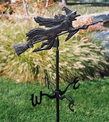Whitehall Products Flying Witch Garden Weathervane Verdigris