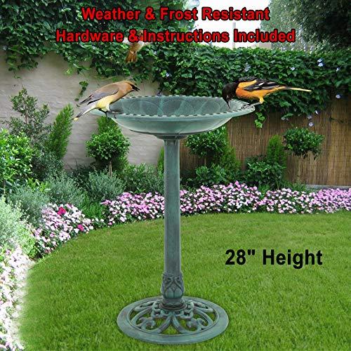 Galax Supply 28 inch Height Pedestal Bird Bath Outdoor Garden Decor Vintage Yard Art Birdbath  Weather and Frost Resistant Resin Hardware Instructions Included