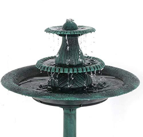 Oteymart Birdbath Pedestal Bird Bath 3-Tier Pump Outdoor Resin Antique Bowl Garden Decor Decorative Birdbath Feeder Vintage Yard Art 36Height