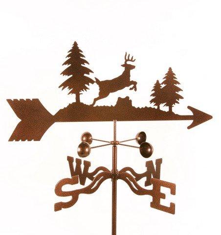 EZ Vane EZ1307-PT Jumping Deer Weathervane with Post Mount