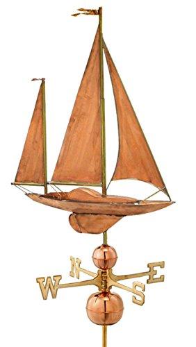 36 Grand Luxury Polished Copper Nautical Large Sailboat Weathervane