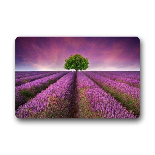 236&quotlx157&quotw316&quot-purple Lavender Flowers Sea Green Tree Scenery Door Mat Durable Heat-resistant Non-woven