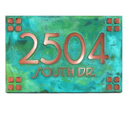Frank Lloyd Craftsman Address Plaque Squares Only 16x105 - Raised Copper Verdi - House Sign