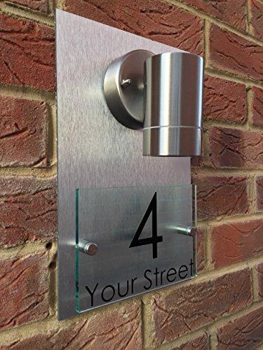 MODERN HOUSE SIGN PLAQUE DOOR NUMBER STREET GLASS EFFECT ALUMINIUM BACK  LIGHT