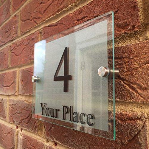 MODERN HOUSE SIGNS GLASS EFFECT ACRYLIC DOOR NUMBERSTREET MEDIUM