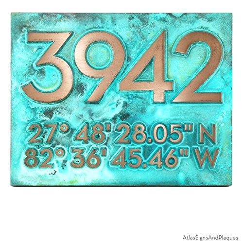 Latitude Longitude Address Number Plaque 14x11 - Raised Bronze Verdi Metal Coated