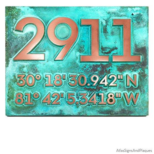 Latitude Longitude Address Number Plaque 14x11 - Raised Copper Verdi Metal Coated