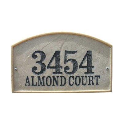 Qualarc Inc Crushed Stone Address Plaque Riviera Arch Slate Riv-4602-sl