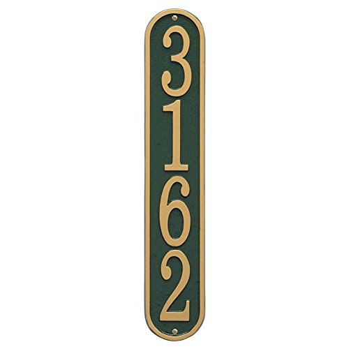 Personalized Cast Metal Vertical House Number Custom Address Plaque Sign - Greengold