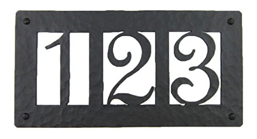 Rustic Custom Hammered Wrought Iron Address Plaque Horizontal Aph23 3number black