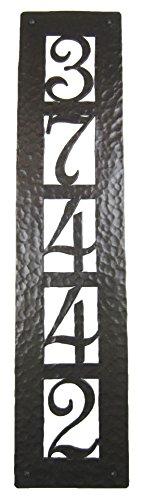 Rustic Custom Hammered Wrought Iron Address Plaque Vertical APV25 5number Bronze